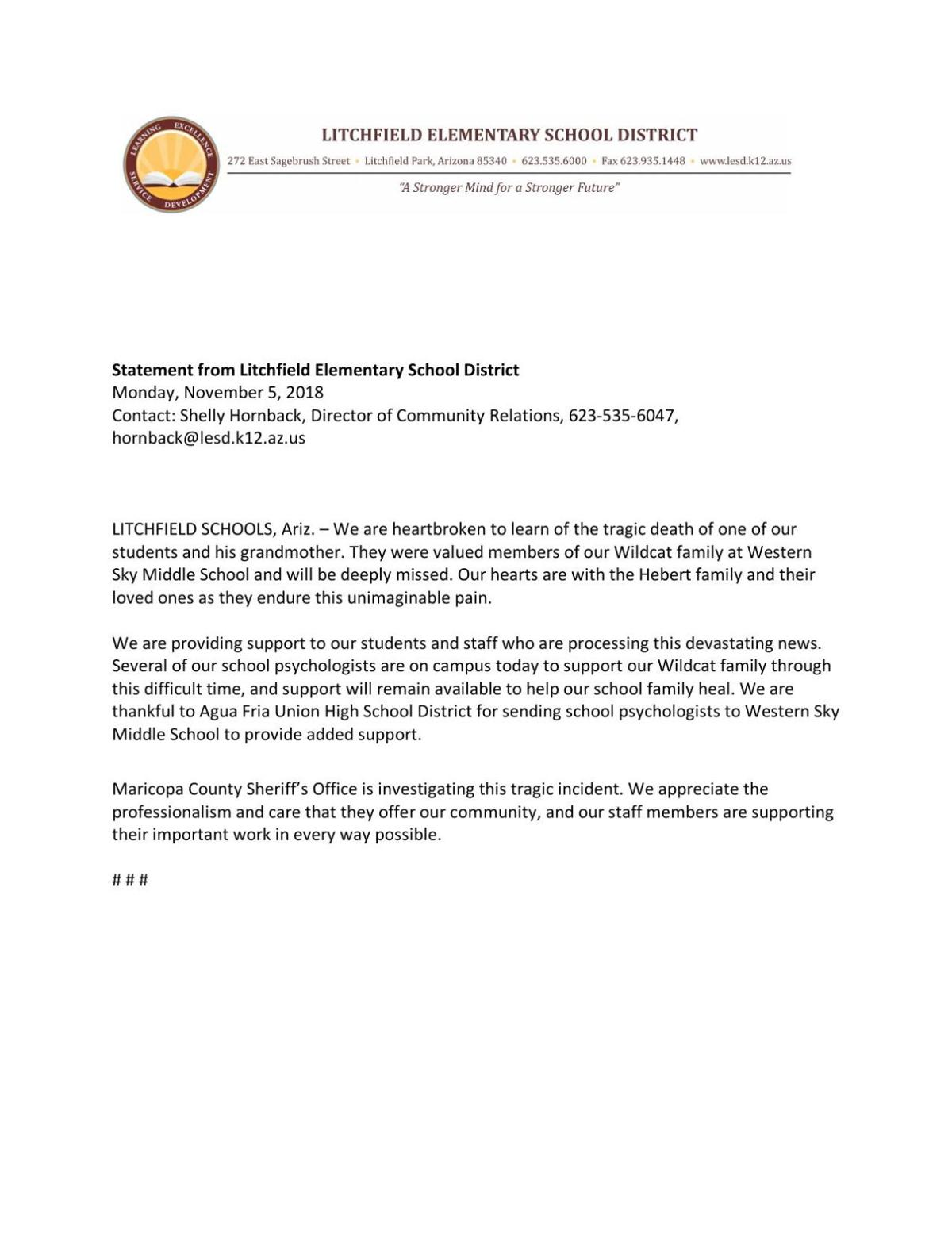 Statement from Litchfield Elementary School District