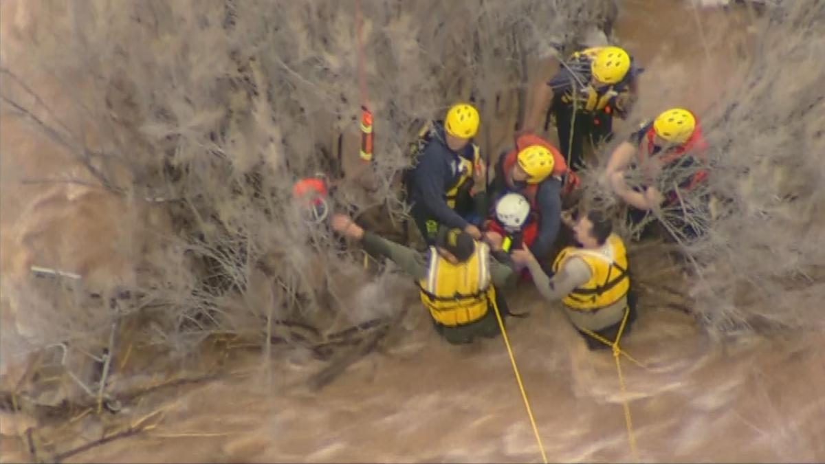 Chopper was overhead during rescue at Queen Creek wash