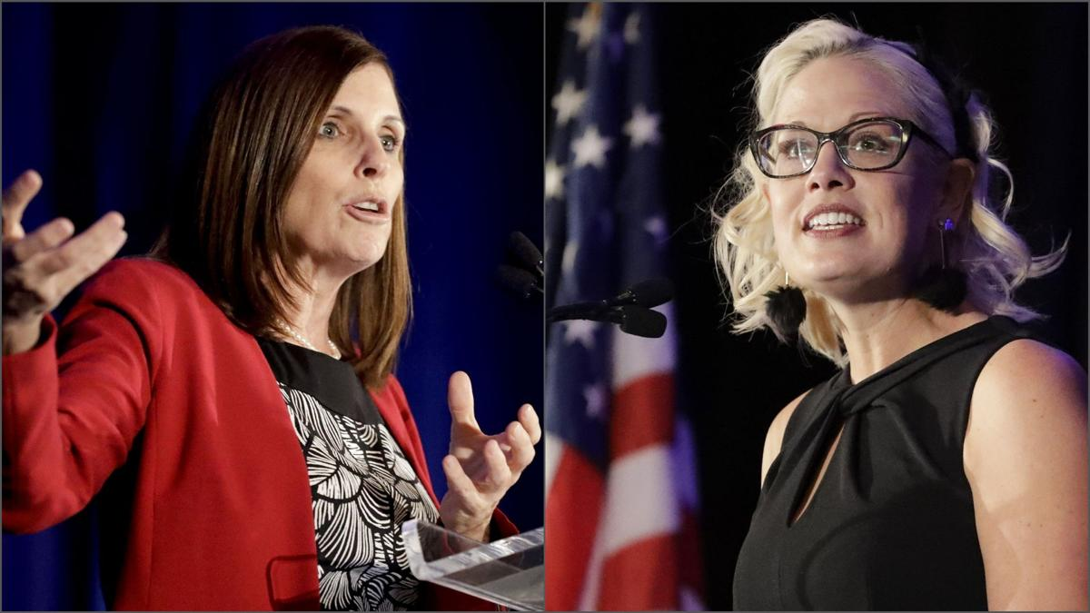 Martha McSally and Kyrsten Sinema at Arizona Chamber of Commerce and Industry event
