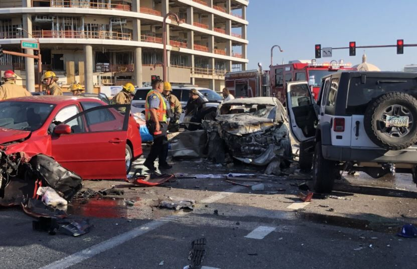 Fiery crash at Central and Camelback