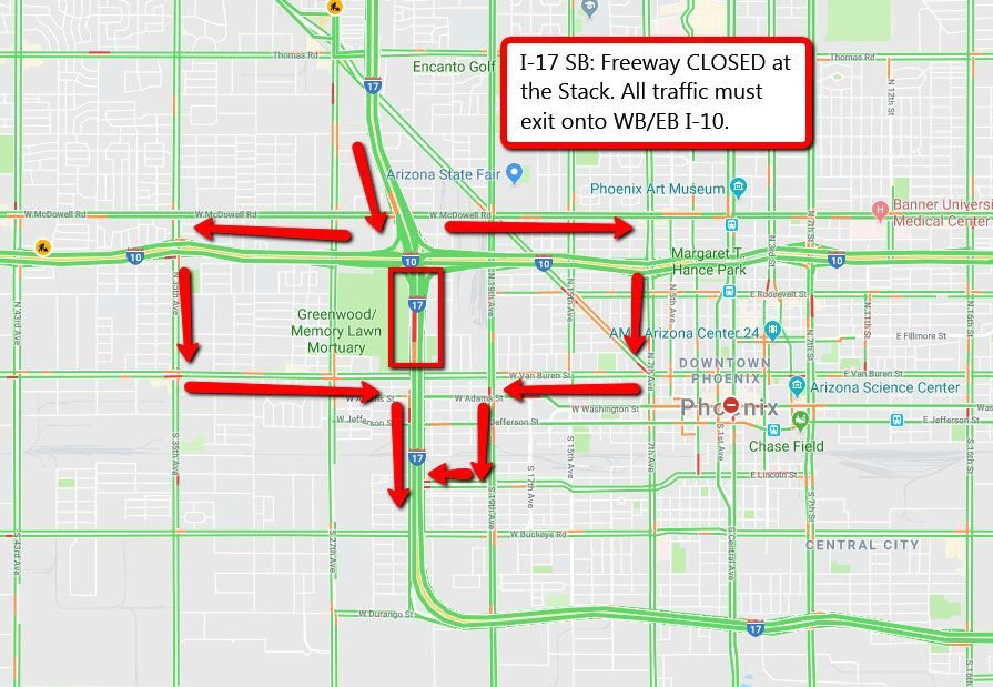 Police situation prompts closure of I-17 in Phoenix ... on indot state map, tdot state map, caltrans state map,