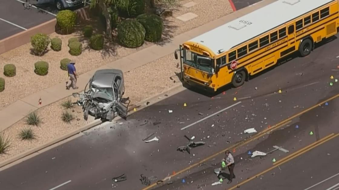 Driver killed after crashing into tow truck & school bus in Phoenix, police say