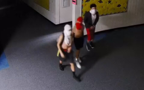 Surveillance video from the school shows the three suspects in the hallways of San Tan Heights K-8 in the early morning hours of Wednesday, July 24.