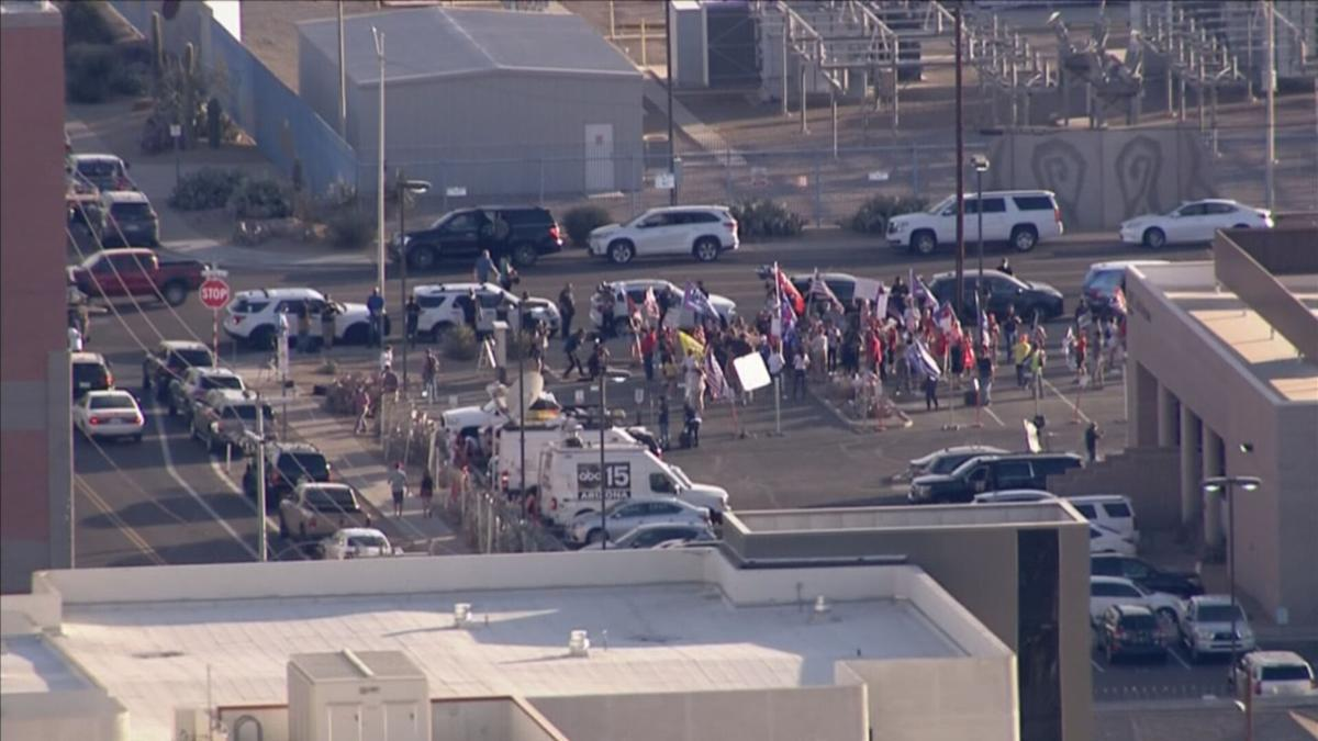 Protestors outside the Election Center in Phoenix