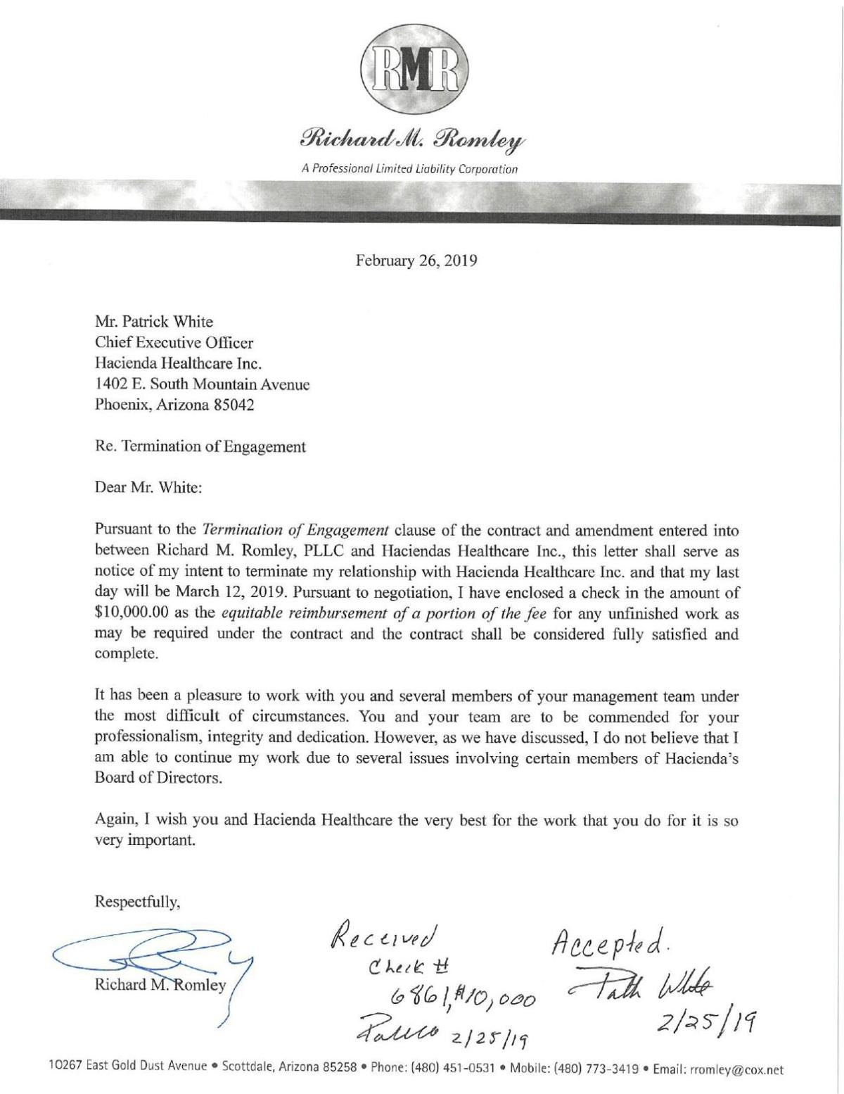 Resignation letter from Richard Romley | | azfamily.com