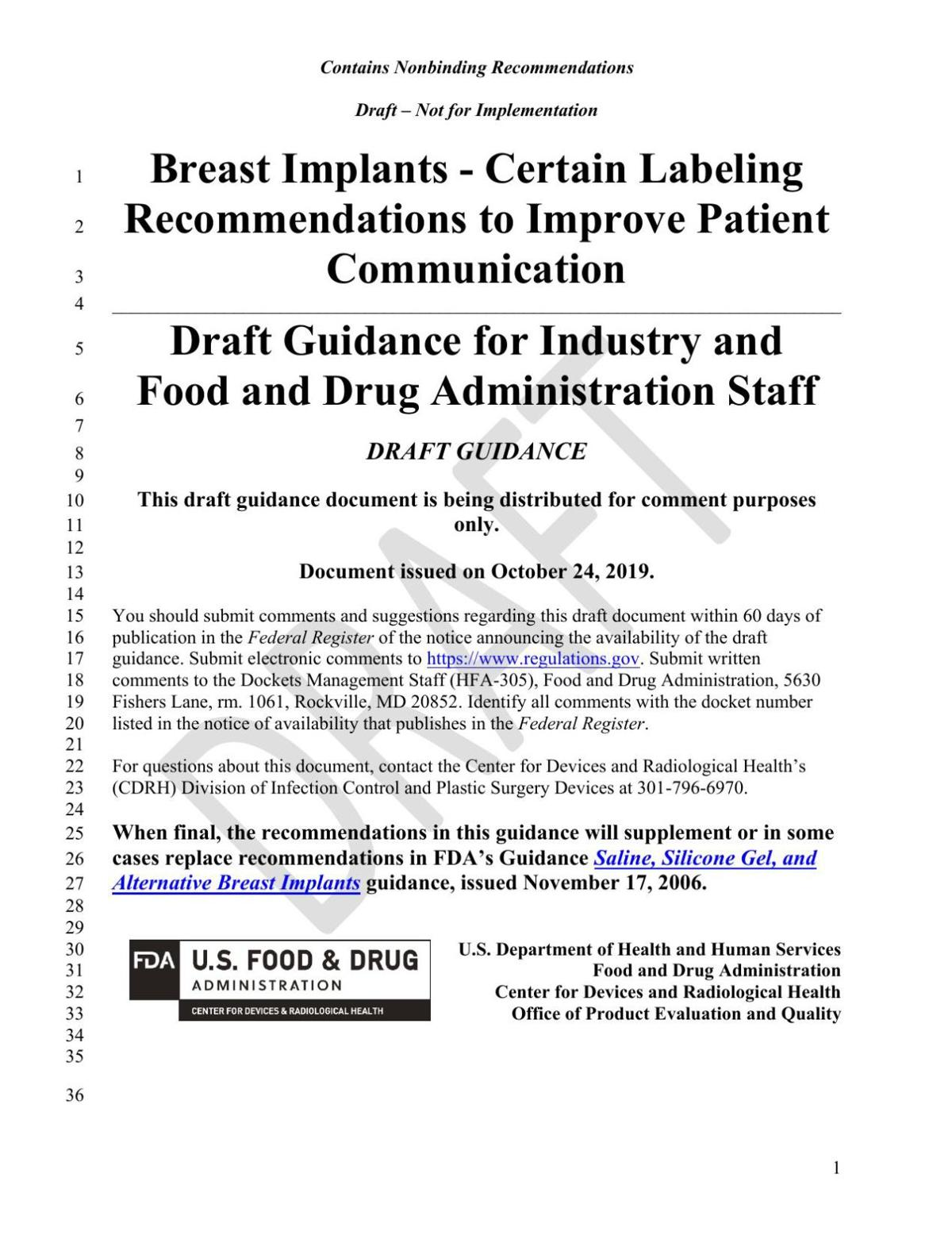 FDA Labeling recommendations draft