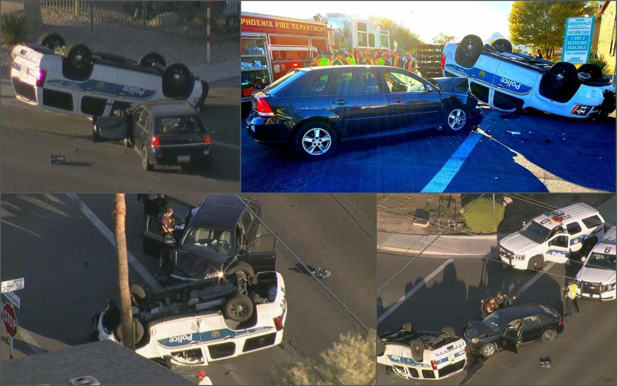 Phoenix police SUV flips after hit-and-run crash, 2 officers hurt