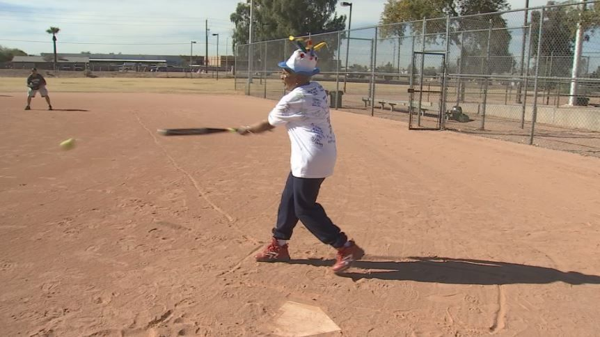 Birthday for a ballplayer: 85-year-old Billie Harris celebrates with a base hit