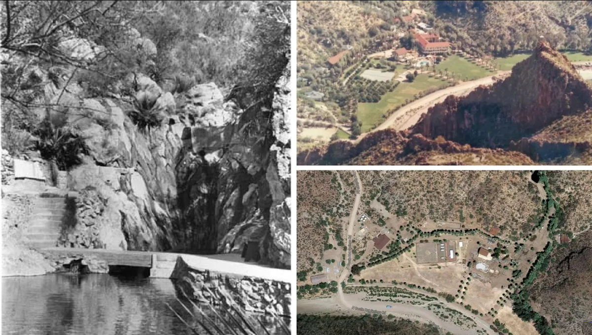 The hot springs pool (L) and the resort as seen from above. (R)