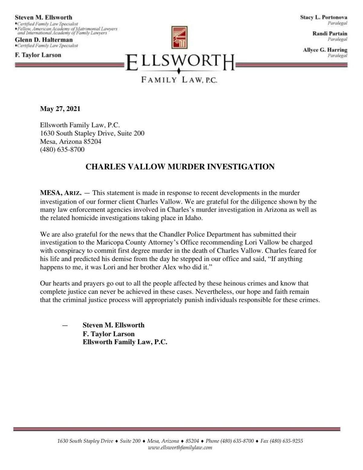 Charles Vallow's lawyer statement
