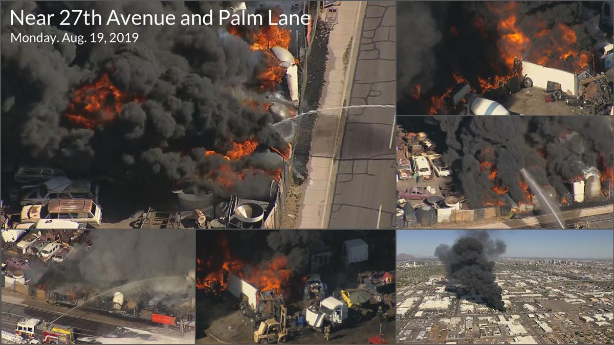 PHOTOS: Huge junkyard fire near 27th Avenue and Palm Lane