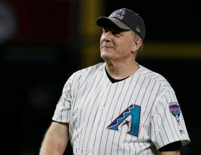 Former Arizona Diamondbacks pitcher Curt Schilling before a baseball game against the San Francisco Giants, Saturday, Aug. 4, 2018, in Phoenix. (AP Photo/Rick Scuteri)