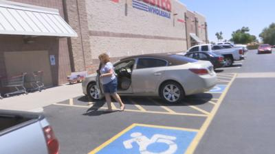 Driver in Phoenix gets caught misbehaving by parking in the disabled has mark.