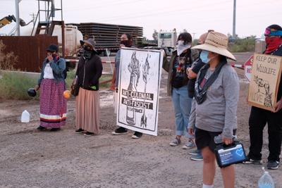 Native American protesters block border fence material delivery