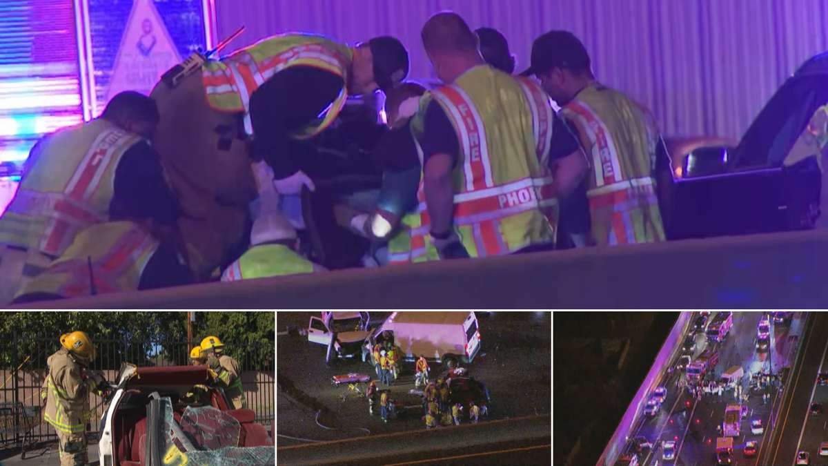 firefighters work to free crash victims