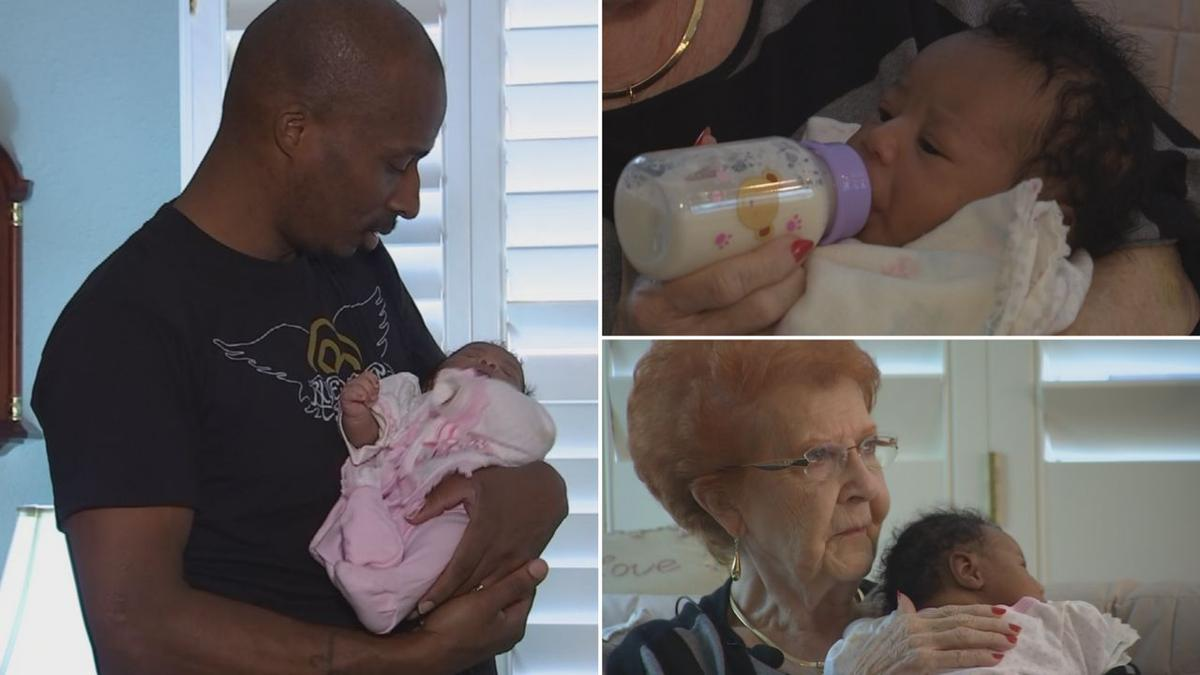 Dad and newborn daughter unable to fly land at Phoenix woman's home