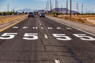 ADOT tests speed limit decals on highway pavement
