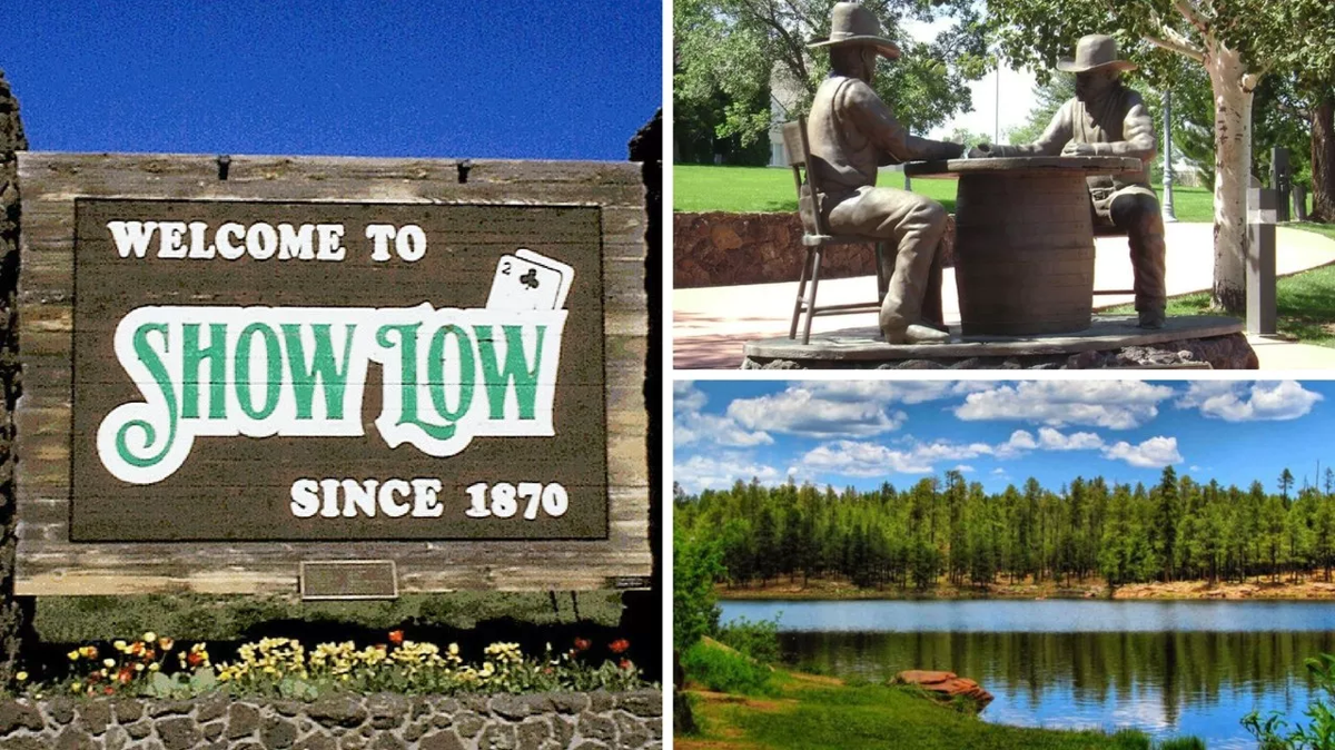 The city of Show Low sign welcomes visitors.