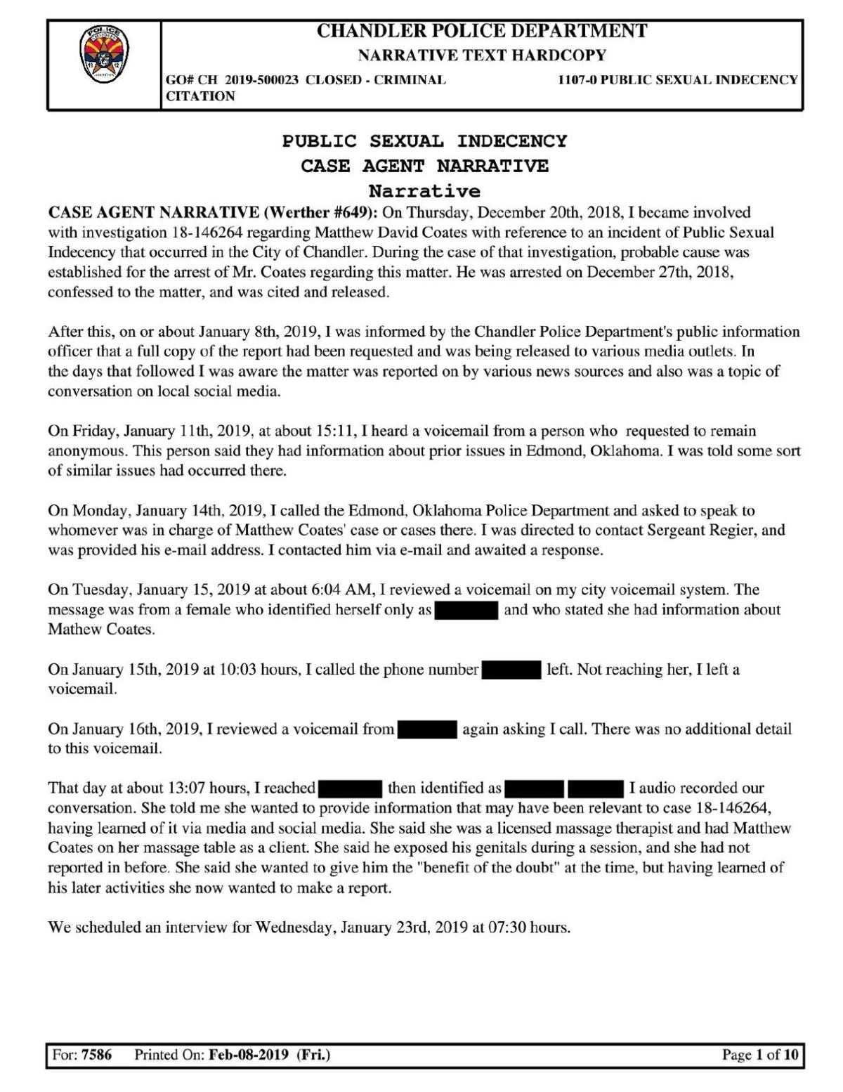 Chandler police report on Coates public indecency charge
