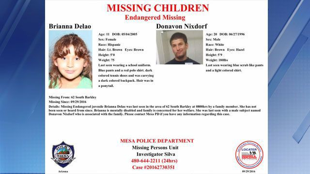 abb2cfb046a Mesa PD  Missing 11-year-old girl found safe