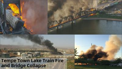 July 29 - Train derailment, fire and bridge collapse at Tempe Town Lake
