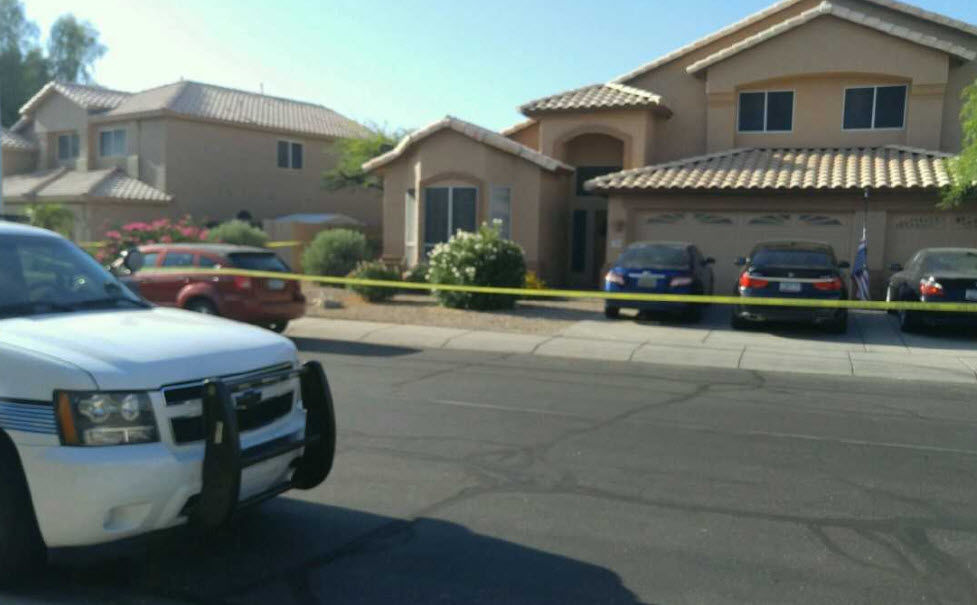 """Chandler police say they received a 911 call from a """"hysterical"""" woman saying that someone in the home had been shot."""