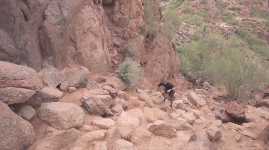 Hiker can make it up and down Camelback Mountain in less than 30 minutes.