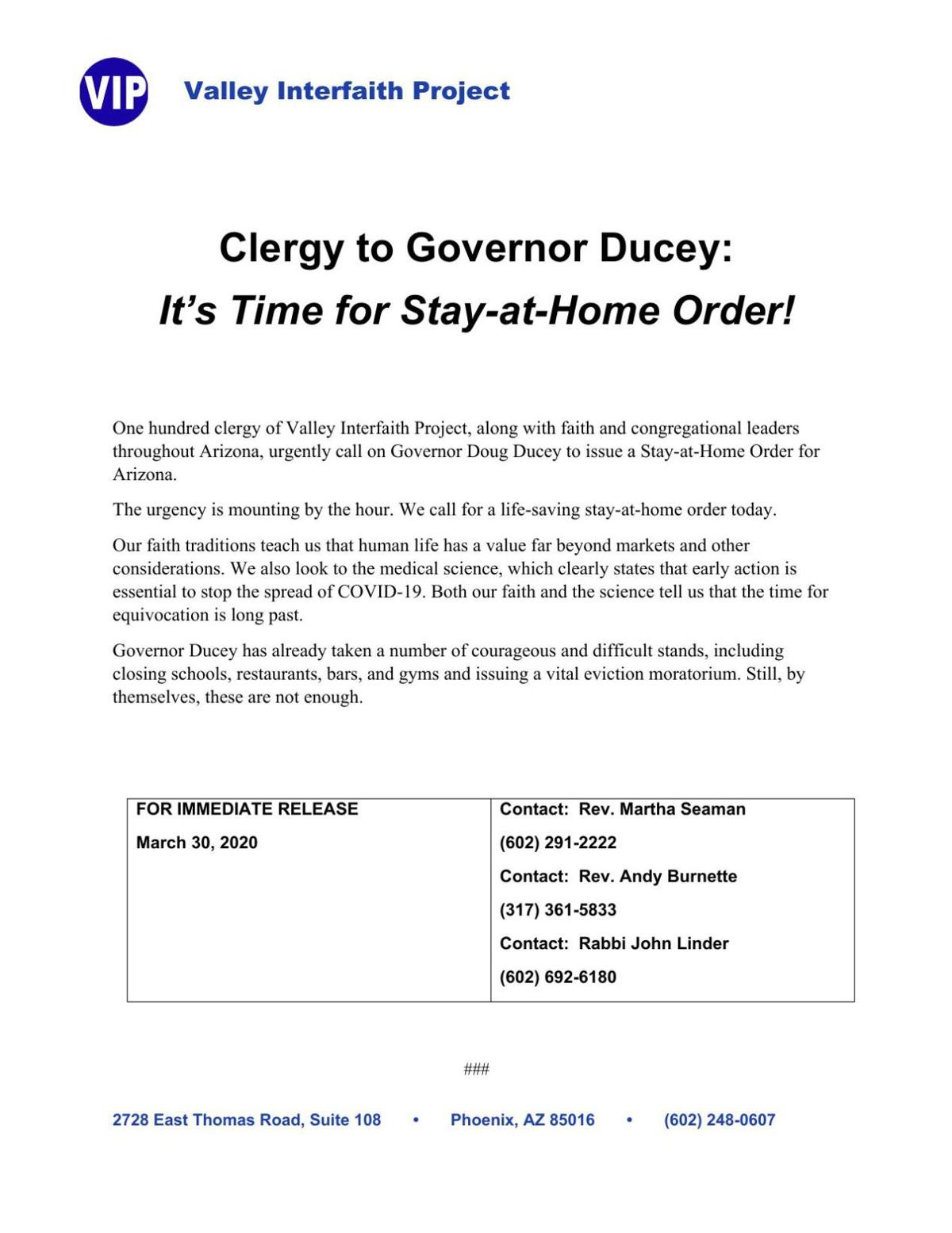 Clergy ask Governor for Stay-At-Home Order