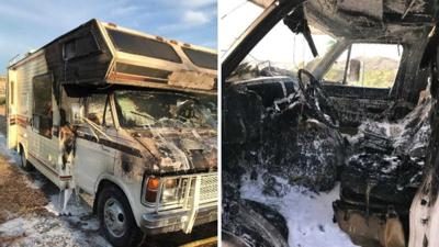 The owner believes the fire started in the engine bay and then quickly engulfed the rest of the RV.
