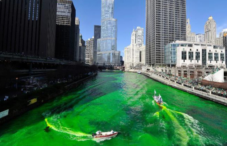 Check out the Chicago River, which has been dyed green for St. Patrick's Day!