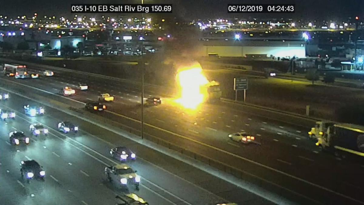 ADOT I-10 GARBAGE TRUCK FIRE
