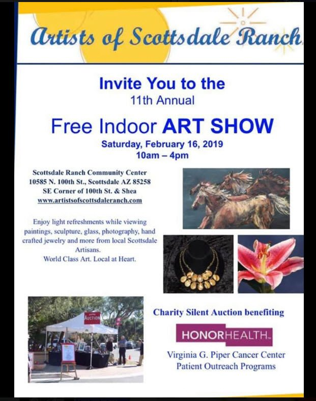"""The """"Artists of Scottsdale Ranch"""" art show and silent auction takes place Saturday, Feb. 16, from 10 a.m. for 4 p.m."""
