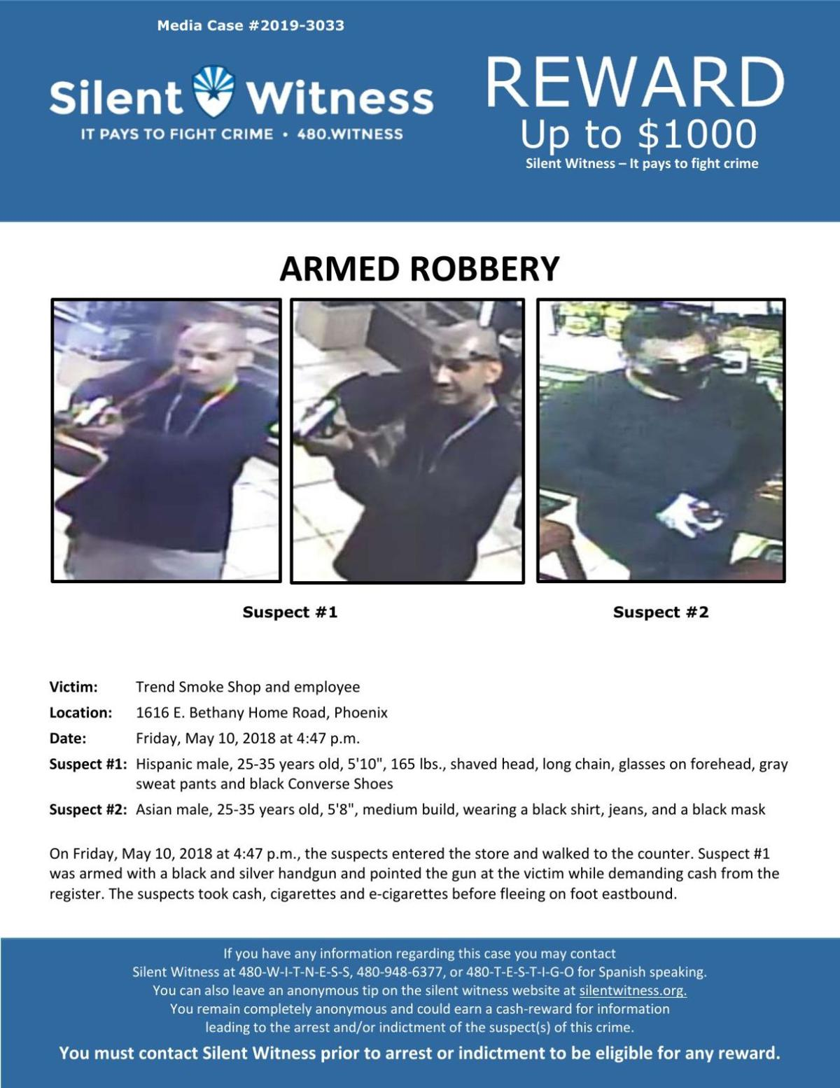 Silent Witness flyer: Trend Smoke Shop armed robbery