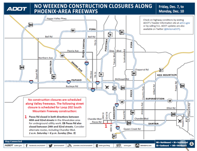 ADOT Weekend Freeway Travel Advisory Dec. 7 to 10