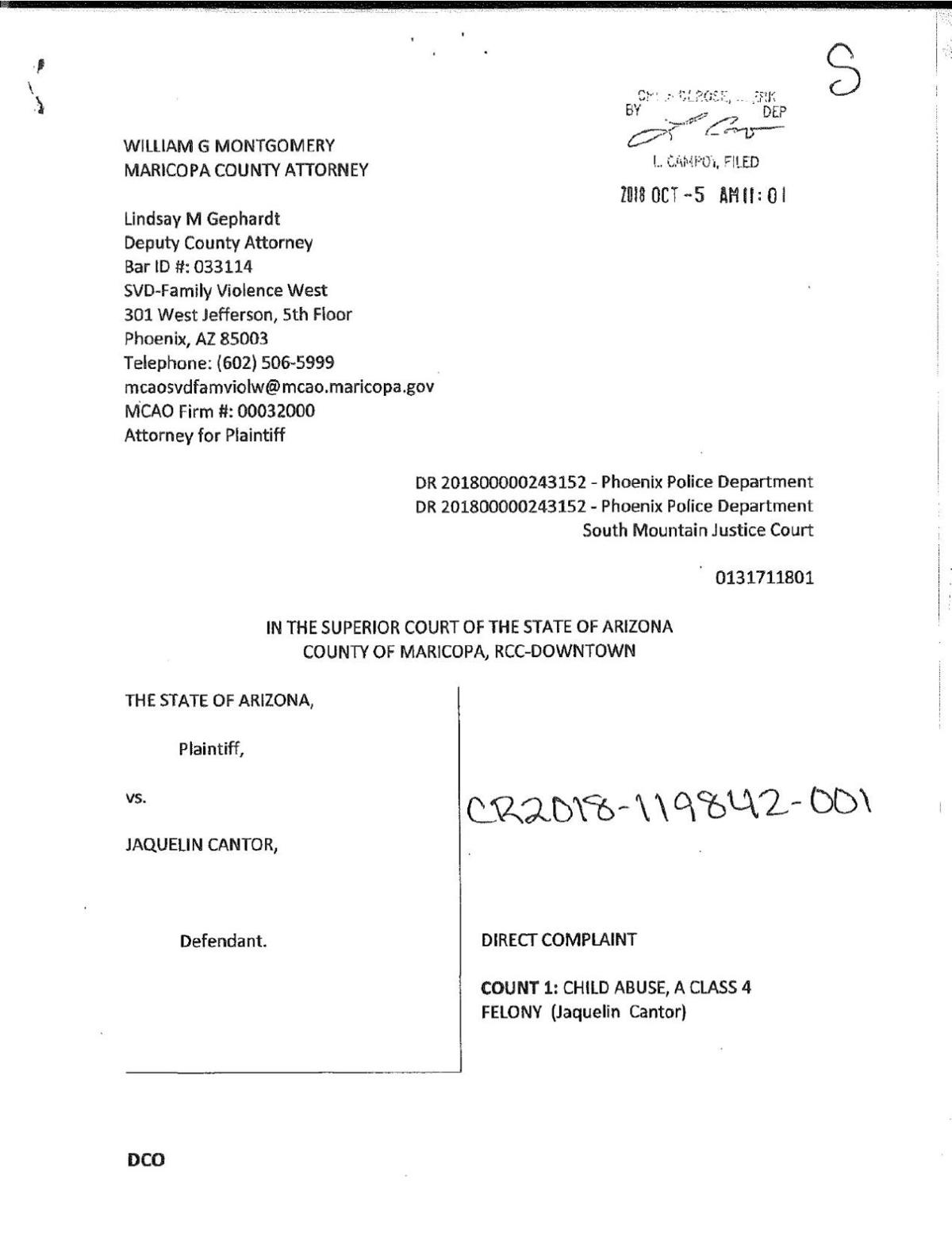 Jaquelin Cantor's court documents