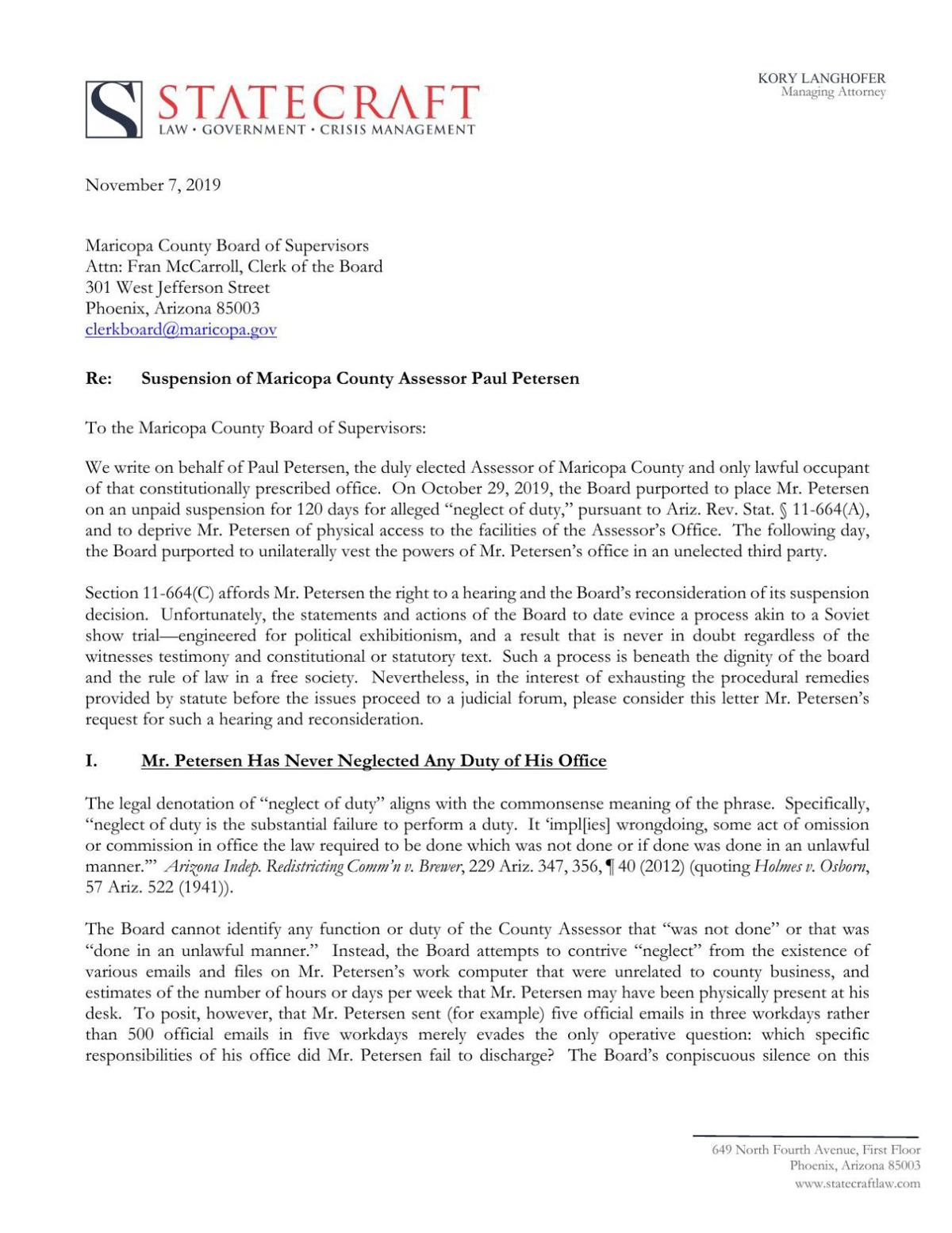 Letter from Paul Petersen's attorney