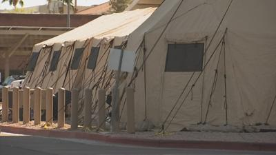 Tents outside hospitals