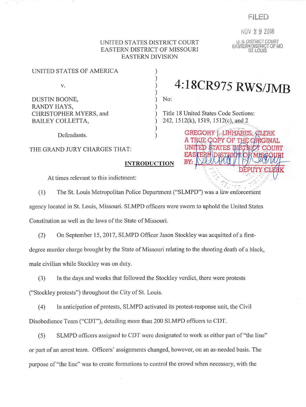 Civil Rights Indictment of SLMPD Officers