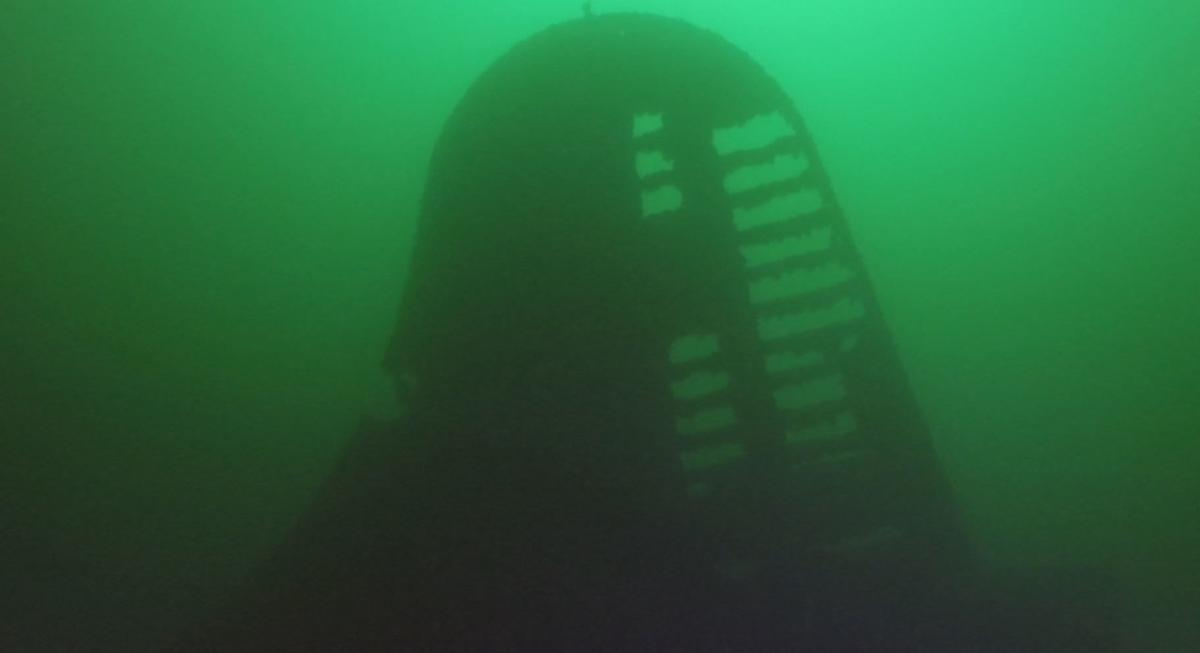 Tail of b-29 bomber at the bottom of Lake Mead