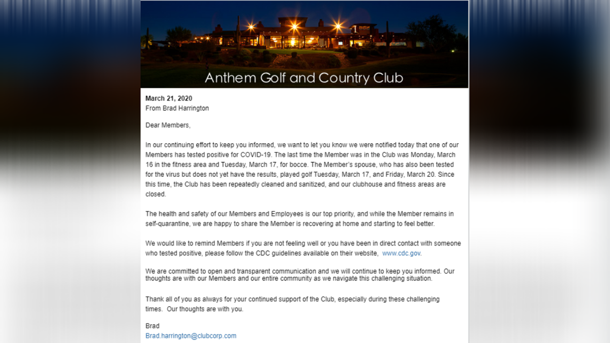 Member Of Anthem Golf And Country Club Tests Positive For