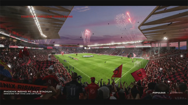 Phoenix Rising debuts plans for permanent soccer stadium