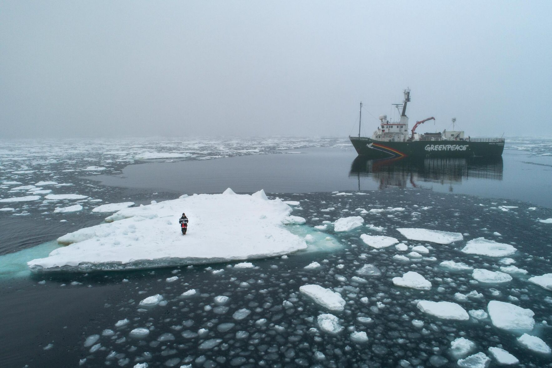 A British teenager staged a sit-in on an Arctic ice floe to protest climate change