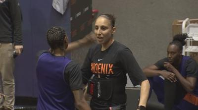 Diana Taurasi wears a back brace at Mercury practice on Monday. Taurasi had surgery and will miss the next two months.