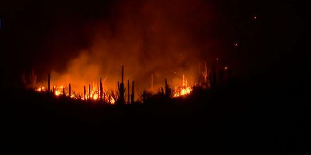 Wildfire burning in Catalina Mountains visible from Tucson