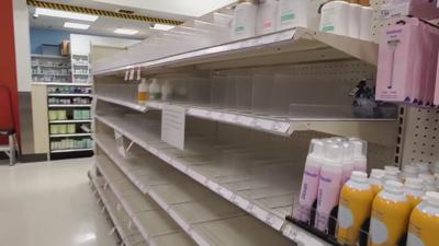 Many store shelves are empty