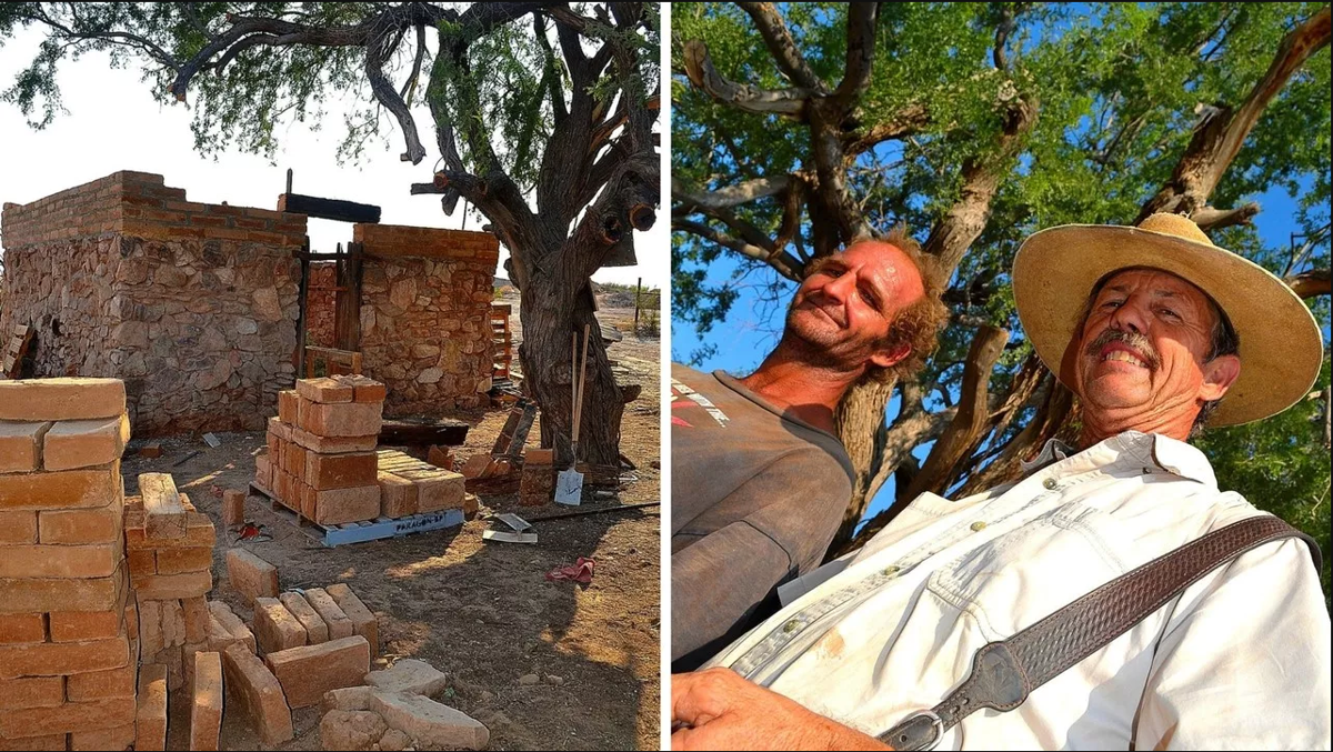 Remains of Henry Wickenburg's home. Tater and Dave Echeverria under the ironwood hanging tree.