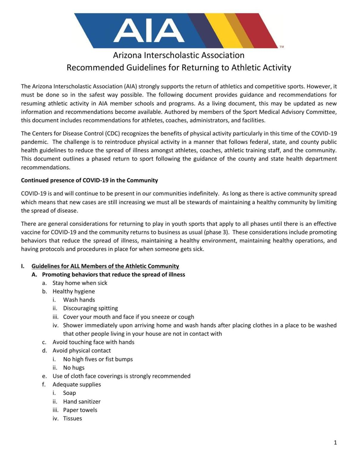 AIA guidelines for returning to activity
