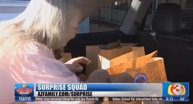 Woman in need helped by The Surprise Squad