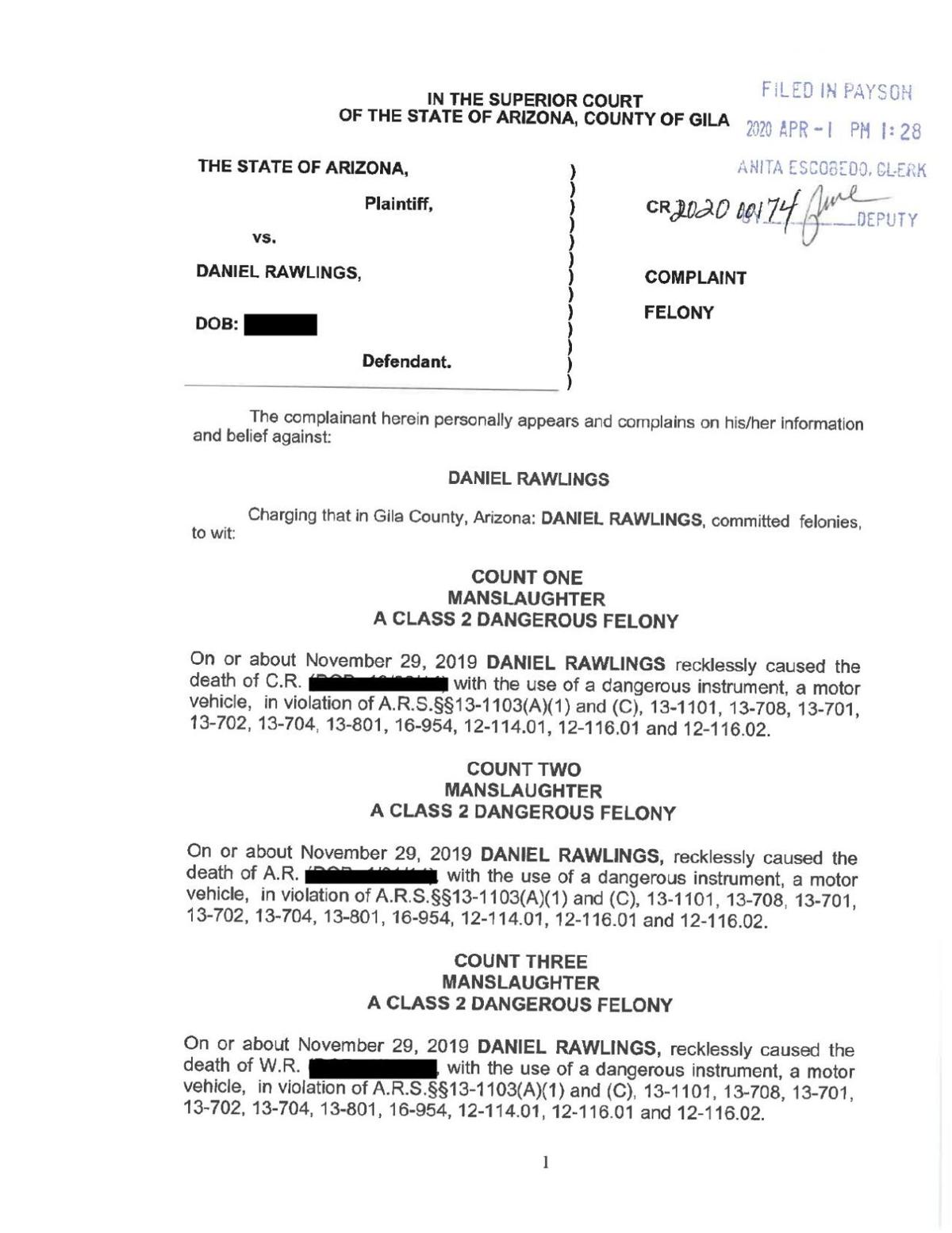 Daniel Rawlings indictment