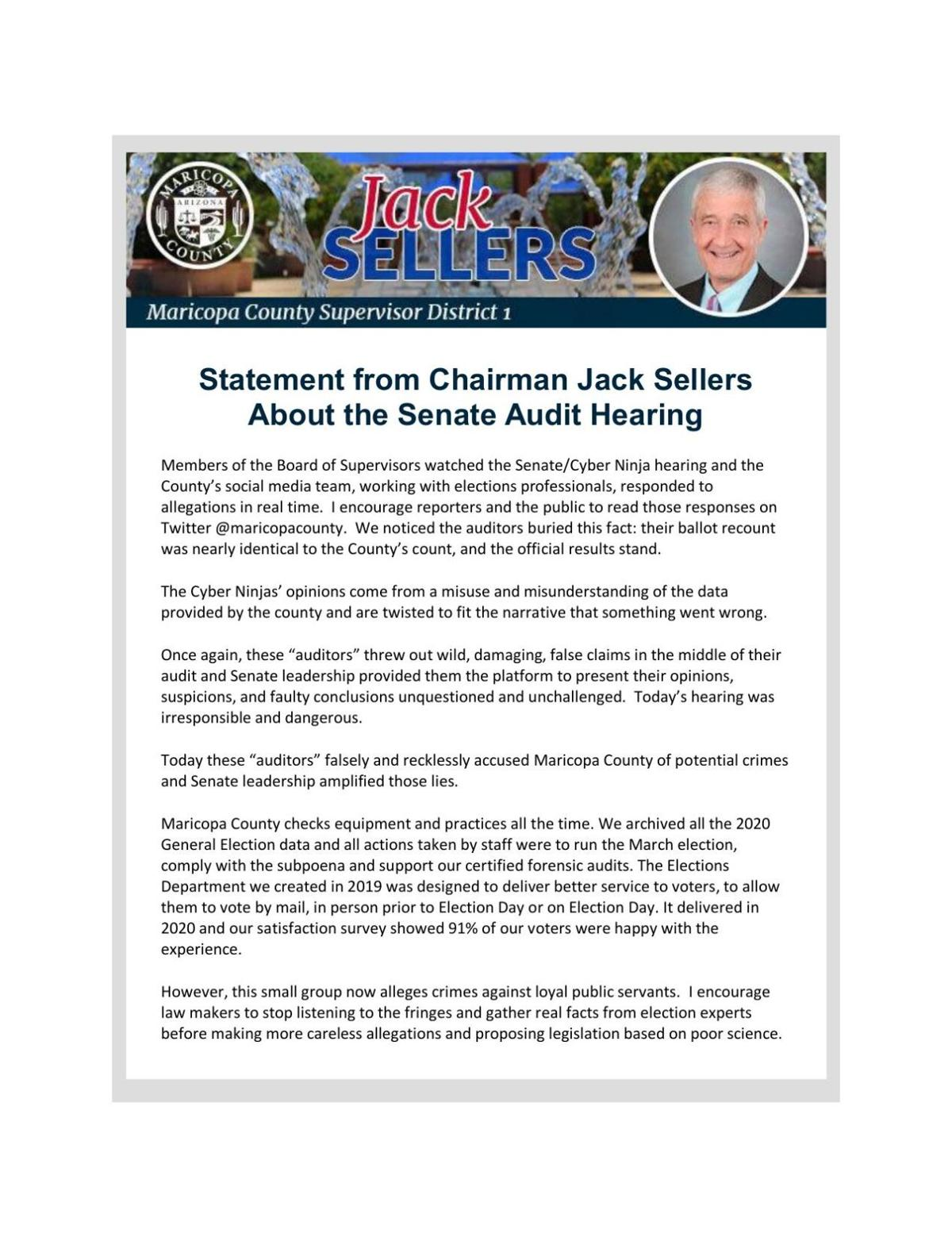 Statement from Chairman Jack Sellers About the Senate Audit Hearing